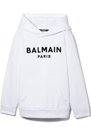 Balmain Hoodies - TEEN logo-print cotton hoodie