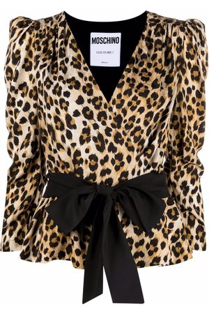 Moschino Dames Blouses - Wrap-style leopard blouse
