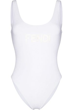 Fendi Embroidered cut-out logo swimsuit