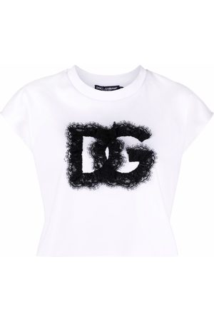 Dolce & Gabbana Dames T-shirts - Lace-logo cropped T-shirt