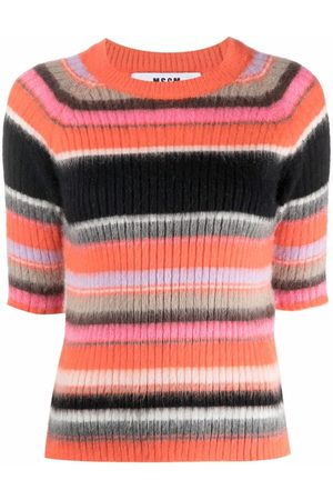 Msgm Dames Korte mouw - Striped short-sleeve knit top