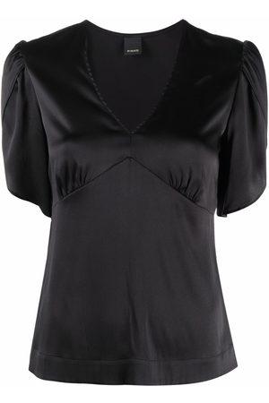 Pinko Dames Korte mouw - Short-sleeve fitted silk blouse