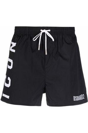 Dsquared2 Heren Strings - Logo-print drawstring swim shorts