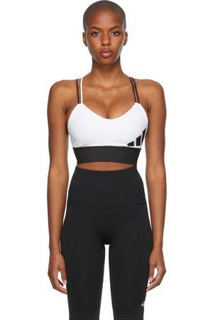 adidas White & Black All Me Light-Support Logo Bra