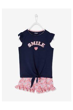 Vertbaudet Meisjes Shorts - Set met T-shirt met ruches en strikeffect en short inkt/bloemen
