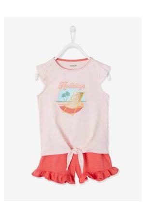 Vertbaudet Meisjes Shorts - Set met T-shirt met ruches en strikeffect en short /donkerkoraal