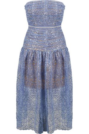 Self-Portrait Embroidered tulle bustier dress