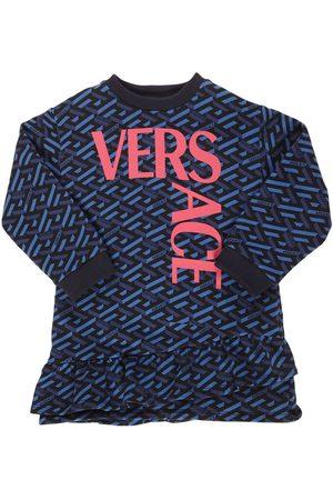VERSACE Meisjes Geprinte jurken - Logo Print Cotton Dress