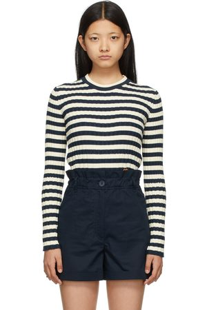 Kenzo Dames Sweaters - Navy & Off-White Striped Tiger Crest Sweater