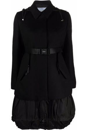 Prada Nylon-panel belted coat