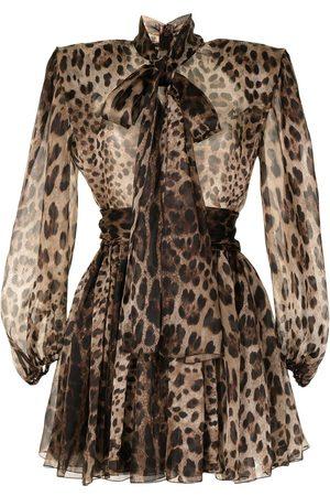 Dolce & Gabbana Dames Feestjurken - Leopard-print wide-shoulder dress