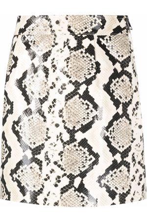 Alessandra Rich Snakeskin-effect leather mini skirt
