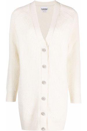 Ganni Dames Cardigans - Ribbed-knit V-neck cardigan