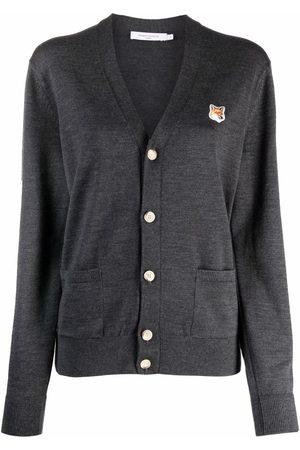 Maison Kitsuné Dames Cardigans - Fox-patch wool cardigan