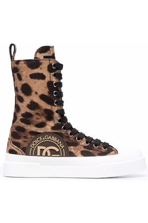 Dolce & Gabbana Dames Sneakers - Leopard-print lace-up sneakers