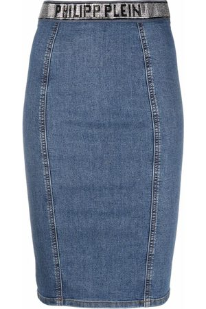 Philipp Plein Super Stretch denim pencil skirt