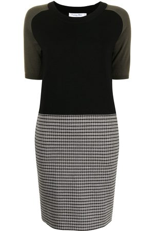 Christian Dior Pre-owned fine knit colour-block dress