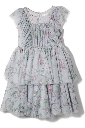 MONNALISA Floral print ruffled tiered dress