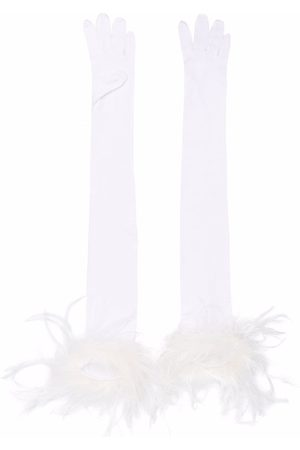 Styland Feather-trim long gloves