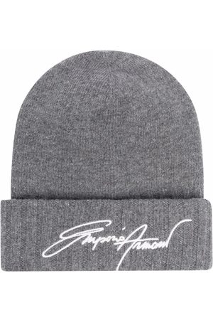Emporio Armani Heren Mutsen - Rib-knit embroidered beanie hat