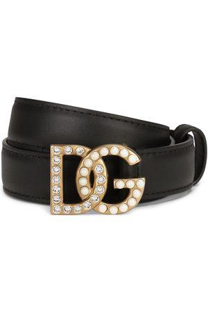 Dolce & Gabbana Logo-plaque studded belt
