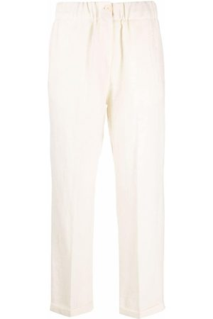 ALYSI High-waisted cropped virgin wool trousers