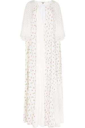 Masterpeace Striped-lace floral maxi dress