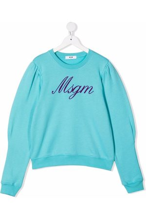 Msgm TEEN logo-print crew neck sweatshirt