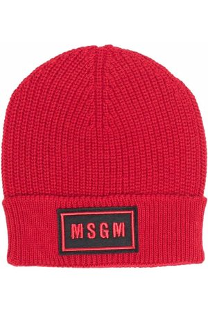 Msgm Jongens Mutsen - Ribbed-knit logo-patch hat