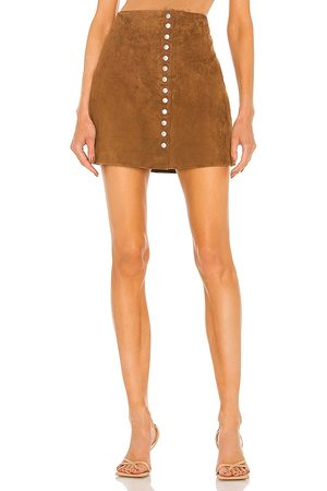 BLANK NYC Suede Snap Skirt in