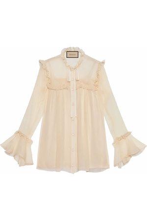 Gucci Dames T-shirts - Ruffle-detail silk chiffon shirt