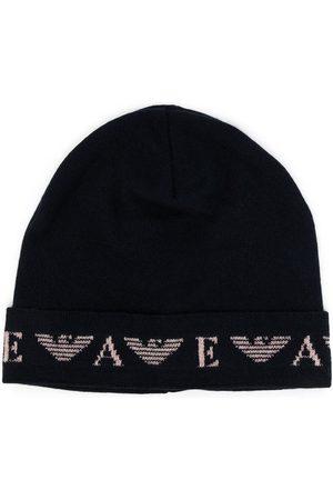 Emporio Armani Fine-knit logo-motif beanie