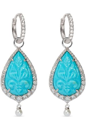 ANNOUSHKA 18kt white gold diamond Unique pearl earrings