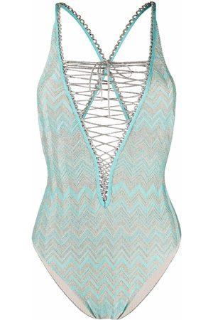 Missoni Zigzag-print lace-up swimsuit