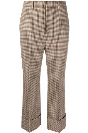 Dsquared2 Dames Capri's - Houndstooth cropped trousers