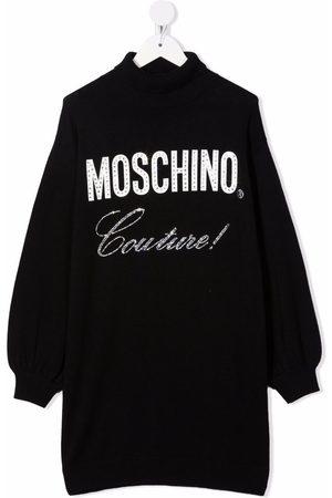 Moschino Logo-print rhinestone dress