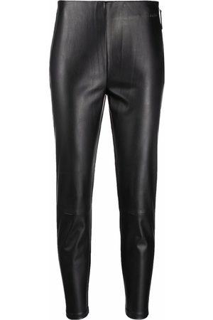 Calvin Klein Dames Leggings - Cropped faux-leather leggings
