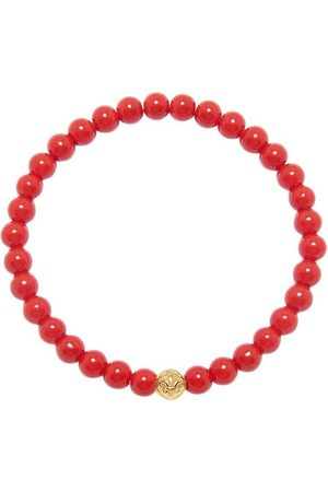 Nialaya Men's Wristband with Red Jade and Gold