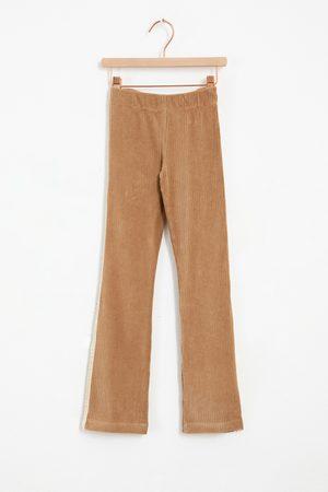 Sissy-Boy Meisjes Leggings - Beige flare rib legging met sidetape