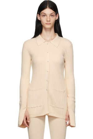 LIVE THE PROCESS Dames Cardigans - Off-White Tuxedo Cardigan