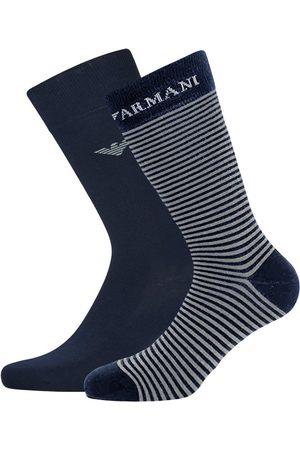 Emporio Armani Sokken - Corta giorgio logo stripe 2-pack blauw & grijs