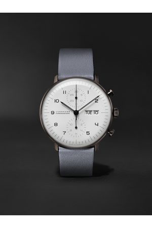 Junghans Heren Horloges - Max Bill Chronoscope Automatic 40mm Stainless Steel and Leather Watch, Ref. No. 027/4008.05