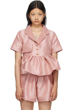 Kika Vargas Dames Korte mouw - Pink Taffeta Angela Short Sleeve Shirt