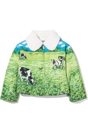 Moschino Meisjes Donsjassen - Landscape-print padded jacket