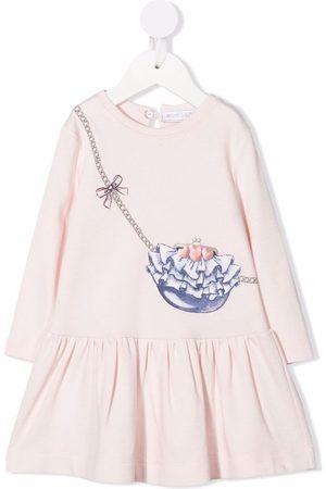 MONNALISA Graphic-print peplum-hem dress