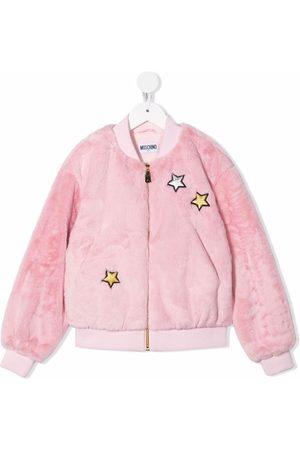 Moschino Meisjes Bomberjacks - Teddy bear-motif faux-fur bomber jacket