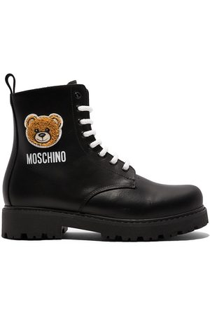 Moschino TEEN Teddy lace-up combat boots