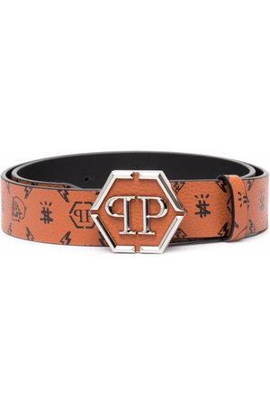 Philipp Plein Monogram-print leather belt