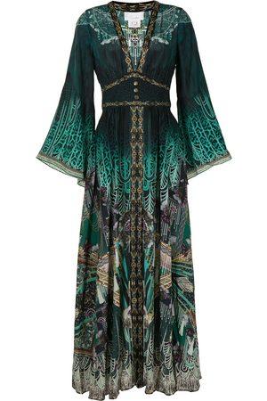 Camilla Shirring-detail kimono-sleeve dress
