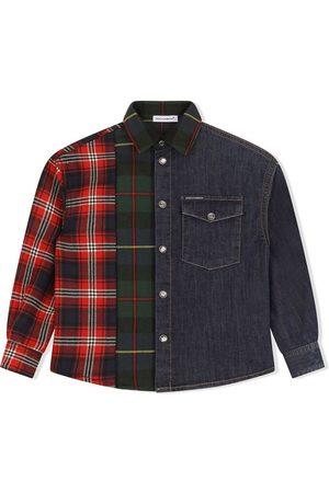 Dolce & Gabbana Jongens T-shirts - Check-panelled denim shirt